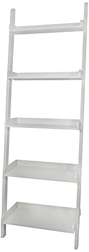 BTEXPERT® Premium Wooden 5-Tier Leaning New Mission Ladder Style Wall Corner Slant Magazine Book Shelf Bookcase with Storage Shelves White Finish