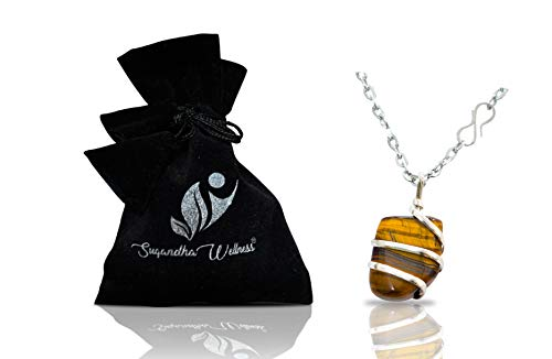 (Natural Tiger Eye Crystal Healing Necklace - for Success Leadership Willpower Self Confidence. Brings Luck and Prosperity. Authentic Crystal with Stylish Stainless Steel Chain. Chakra Healing Charm)