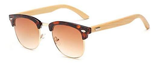 Retro Sol Espejo B Recubrimiento Gafas de sin Gafas Gafas E Montura bambú de Gafas de Marca KOMNY de Madera Sol de Hombres la de diseñador Semi UV400 qaxBBwHA