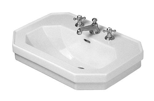 Basin Pedestal 3 Hole (Duravit 0438700030 1930 Series 27-1/2-Inch Three-Hole Wash Basin, White Finish)