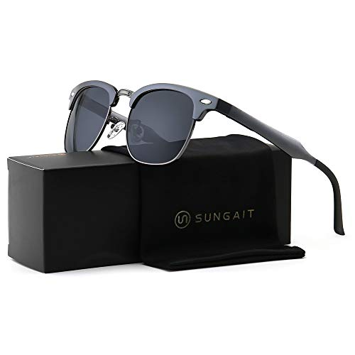 SUNGAIT Classic Half Frame Retro Sunglasses with Polarized Lens (Gunmetal Frame Gray Lens) -