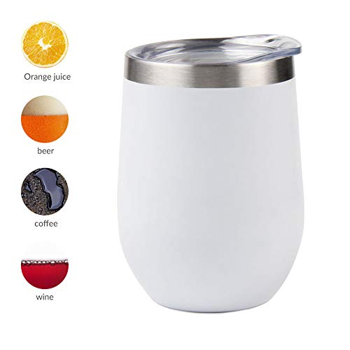 Sivaphe Travel Coffee Mugs Stainless Steel WineGlasses with Lid Double-Wall Vacuum Insulated Unbreakable Drinking Cups for Wine Cocktails Ice Cream (12OZ White) (Handle No Mug White)