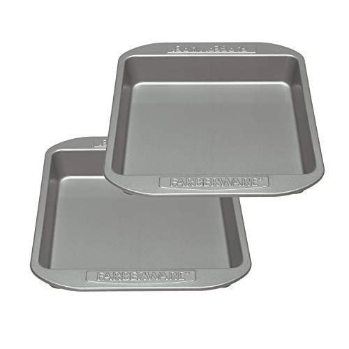 Farberware 47744 Nonstick Bakeware Baking Pan Set / Nonstick Cake Pan Set, Square - 2 Piece, Gray