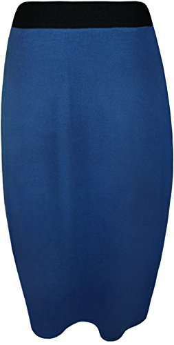 lastique 42 36 Jupe Taille royal Droite Midi Uni Tailles Bleu WearAll Femmes Jupes aHUwqgEv