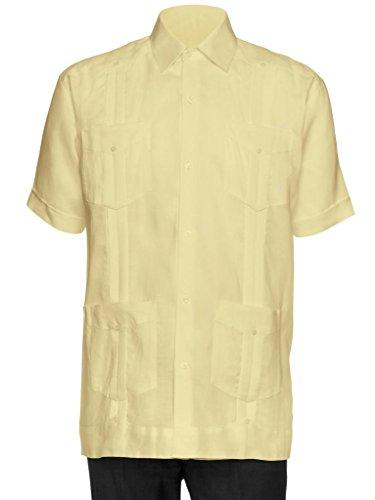 Giovanni Uomo Mens Short Sleeve 100% Linen Guayabera Shirt Honey 2X