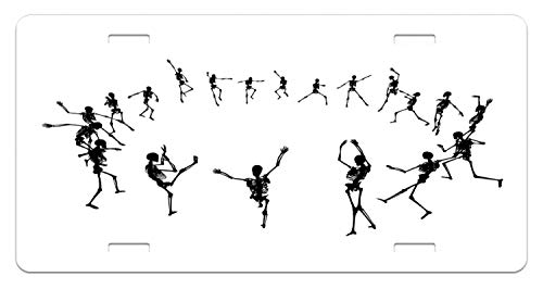 Lunarable Dance License Plate, Skeleton Silhouettes Dancing in a Ring Happy Halloween Holiday Themed Monochrome, High Gloss Aluminum Novelty Plate, 5.88