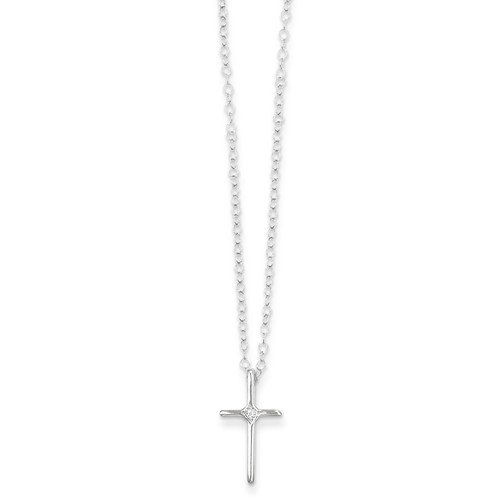 Solid 14k Children Girl Baby Kids Toddler White Gold .01ct Diamond Cross Crucifix Necklace Chain 15'' by Sonia Jewels