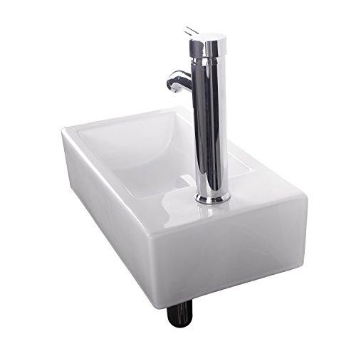 Walcut usbr1031 bathroom wall mount rectangle white - White porcelain bathroom fixtures ...