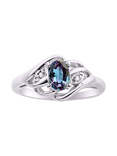 Diamond & Simulated Alexandrite/Mystic Topaz Ring Set In Sterling Silver .925