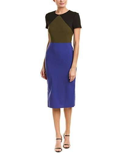 Diane von Furstenberg Women's Tailored Midi Dress, Electric Blue/Olive/Black, 4 from Diane von Furstenberg