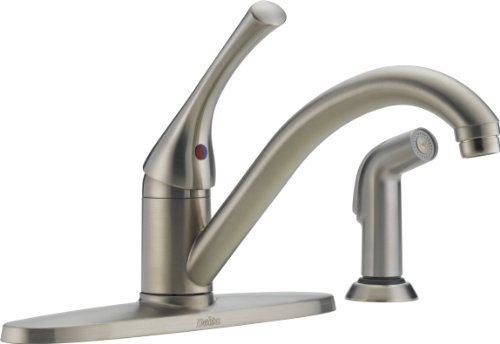Delta 400-SS-DST-A Classic Single Handle Kitchen Faucet with Spray, Stainless (Dst Stainless Steel)