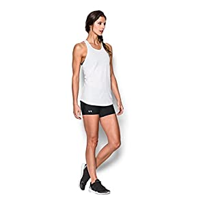 Under Armour Women's HeatGear Authentic Middy Shorts, Black/Silver, Small