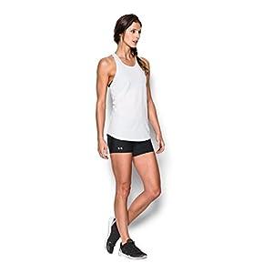 Under Armour Women's HeatGear Authentic Middy Shorts, Black/Silver, Medium