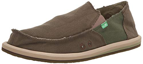 Sanuk Men's Vagabond Hemp Loafer Flat Dark Olive/Green 8 M ()