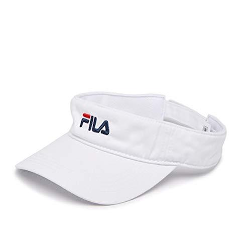 FILA Unisex Heritage Mesh Adjustable Strap Visor, Curved Brim (White)
