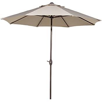Abba Patio Outdoor Patio Umbrella 9 Feet Market Aluminum Table Umbrella  With Auto Tilt And Crank