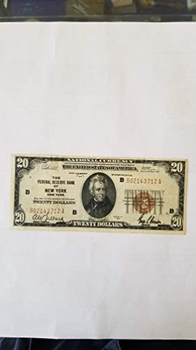 1929 $20 NEW YORK FEDERAL RESERVE NOTE-STILL CRISPY BROWN SEAL FRN-VERN'S CARD & COIN $20 -