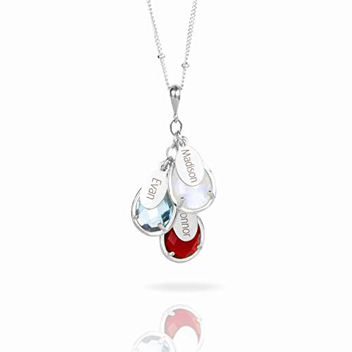 - Custom Birthstone Necklace with Names, Personalized Family Tree Necklace in Sterling Silver or Gold Filled [TPCSwOV]