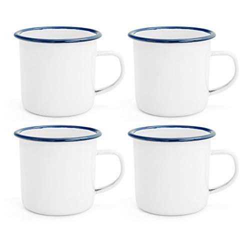 - Argon Tableware Traditional Enamel White Tea/Coffee Mugs - 380ml - Blue Trim - Set of 4