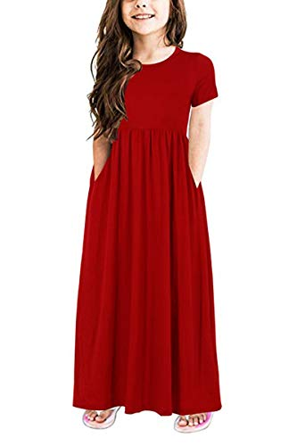 LYXIOF Girls Long Maxi Dress Short Sleeve Solid Color Casual Dress with Pocket Red 140CM