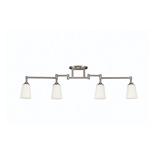 Sea Gull Lighting 2530404-962 Track Lighting Four-Light Track Lighting Kit with Satin White Glass, Brushed Nickel Finish