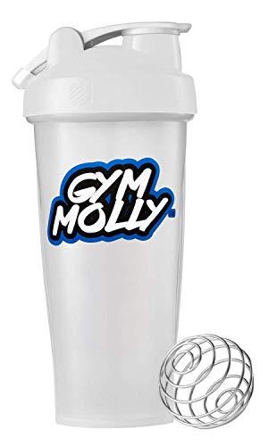 Gym Molly Blender Bottle (28-Ounce) | Leak Proof Lid | Carrying Loop | BPA Free | Dishwasher Safe
