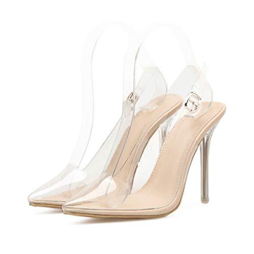 Offene Frauen Nadeln Schuhe Sandale Transparente Pumps Schuhe scharf Pumpen Beige Heels rgwr5qx