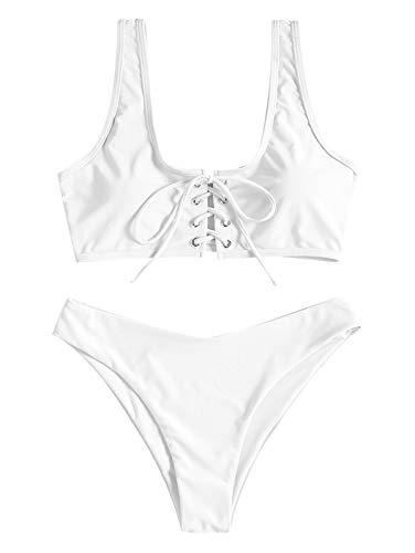 ZAFUL Womens Scoop Neck Lace Up Bikini Set Padded Two Piece Swimsuit Bathing Suit White (Small Padded Bikini)
