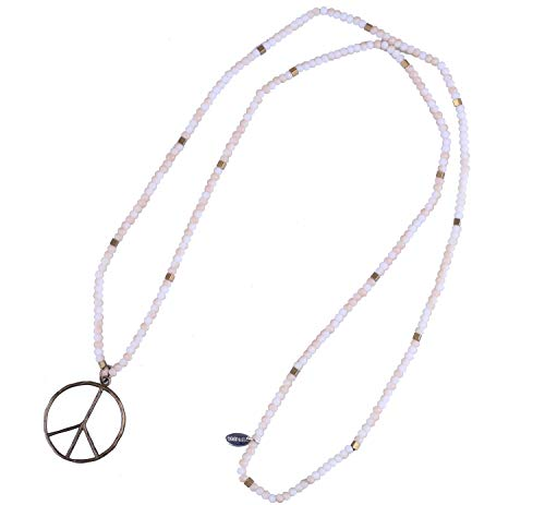Heart Peace Sign Necklace (KELITCH Classic Peace Sign Love Hippie Pendant on Frosted Crystal Beaded Necklace (White Orange))