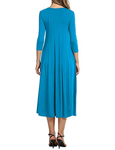 Women's Shirt Party Casual Elegant 4 T Midi Blue Dress Fit Swing Sleeves 3 Flare wqa4wnTCx