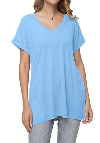 (Womens Summer Plain Casual Loose Short Sleeve Tunic Blouse Tops Light Blue L)