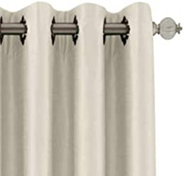 Royal Velvet Plaza Grommet-Top Lined Blackout Curtain Panel 50x63 Ivory Beige