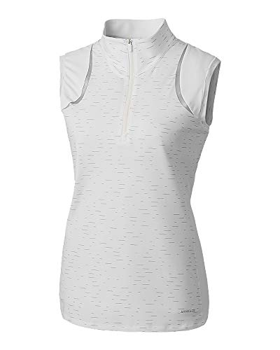Cutter & Buck Women's Drytec UPF 50+ Sleeveless Elite Contour Mock Jersey Shirt, White, Large