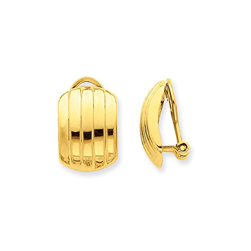ICE CARATS 14k Yellow Gold Ribbed Non Pierced Clip On Omega Back Earrings Fine Jewelry Ideal Mothers Day Gifts For Mom Women Gift Set From Heart by ICE CARATS