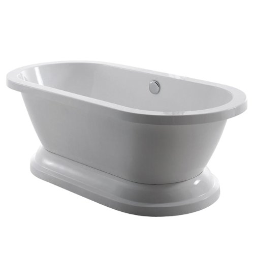 Eden VTPE672824P Contemporary Pedestal Double Ended Acrylic Bath Tub, 67-Inch,  White (Double Ended Bathtub)