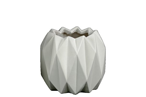 Urban Trends Ceramic Round Short Vase with Uneven Lip and Ribbed Body Design, Matte White
