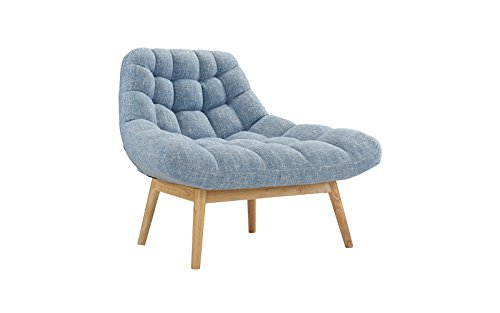 Modern Linen Plush Living Room Lounge Accent Chair (Blue) (Reading Bedroom Chair)