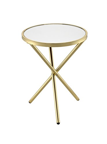 Acme Furniture 81817 Lajita Side Table, One Size, Mirror and Gold