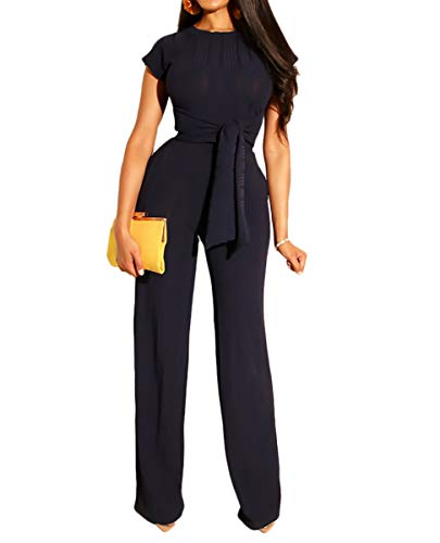Ophestin Womens Sexy Two Piece Outfits Short Sleeve Rib Belted Crop Top Wide Leg Pants Set Party Jumpsuits Black XXL