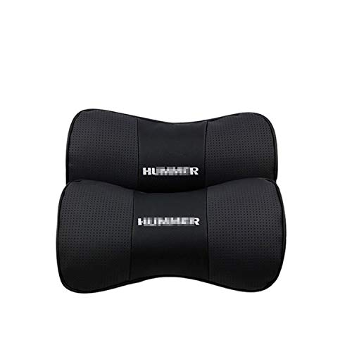 Ldntly 2 PCS Car Seat Neck Pillow,Genuine Leather Bone-Shaped Car Neck Pillow,Headrest Cushion for Neck Pain Relief and Cervical Support Comfortable with Logo Pattern for Hu-m-m-er Accessory