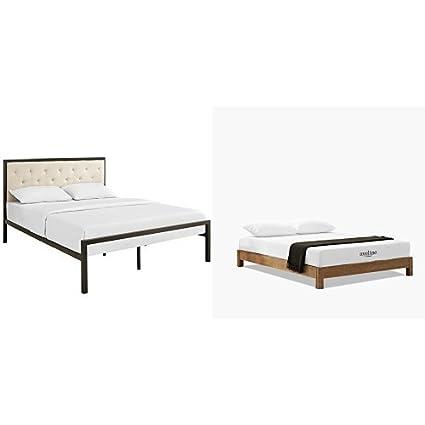 purchase cheap 4616e f8de6 Amazon.com: Modway Mia Fabric Platform Bed Frame, Queen ...