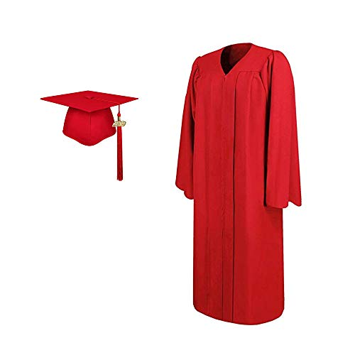 2019 Matte Adult Graduation Gown Cap Tassel Set (Red, 54''[5'9''-5'11'']) ()