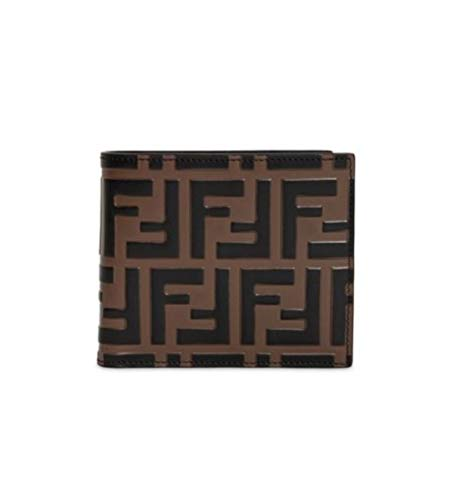 Fendi Mens Brown Signature FF Bi-fold Wallet