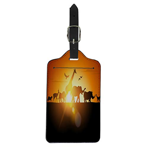 Semtomn Luggage Tag Jungle Sunset Safari Wildlife Silhouetted Against Animal Silhouette Africa Suitcase Baggage Label Travel Tag Labels (Silhouetted Bird)