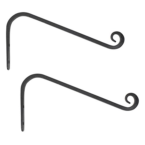 GrayBunny GB-6880B2 Hand Forged Curved Hook, 12 Inch, Black, 2-Pack, for Bird Feeders, Planters, Lanterns, Wind Chimes, As Wall Brackets and More! - Forged Curved Hook