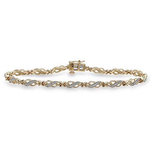 Jewelili 14kt Yellow Gold Plated Sterling Silver 1/4cttw Round Natural White Diamond Bracelet, 8 Inch