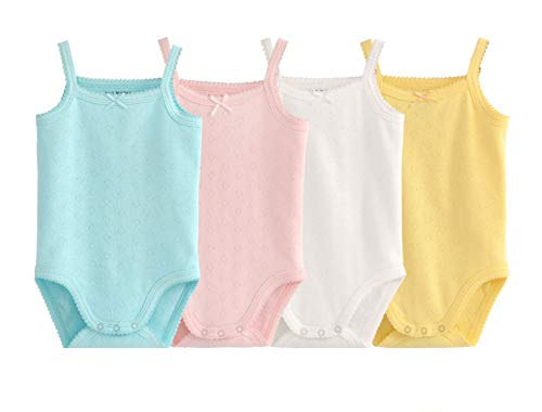 Clothes Baby Blue Top Onesie - Infant Baby Girls Sleeveless Onesies Tank Top Cotton Baby Bodysuit Pack of Baby Summer Colorful Clothes Outfit (Newborn, 4-Pack(Blue/Pink/White/Yellow))