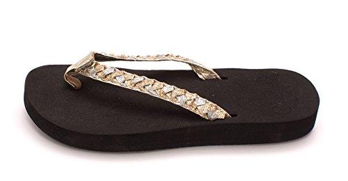 Reef Women's Twisted Star Cushion Flip Flop,Black Champagne,6 M (Womens Braided Cushion)
