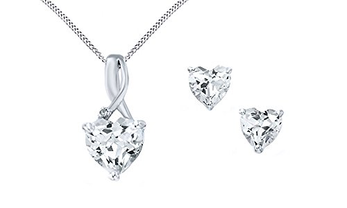 Heart-Shaped Simulated White Sapphire & Diamond Pendant Necklace & Earrings Set Sterling Silver