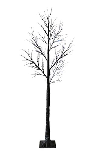 JayMark Products Christmas Floor Standing 7ft (210cm) LED Outdoor Indoor Snowy Effect Tree - Cool White Lights -